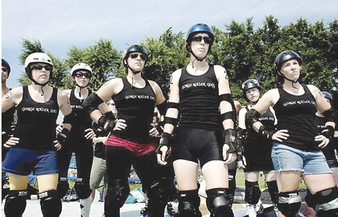ANYA KAFKA (front) and members of the Gorge Roller Girls team stare out at the competition moments before starting a duel in this recent photo. On March 16 at Hood River High Scholl, these roller derby participants will split up for some bragging rights in a season opener starting at 6 p.m.	                                                