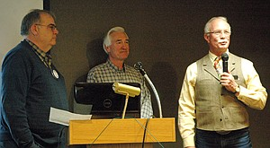 Teunis Wyers, right, announces the news about the Hoffman gift last week at Rotary. At center is Craig Sheppard, who administers the Rotary Foundation Scholarship Fund, and at left is Rotary president Bob Francis.
