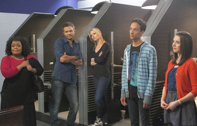 "Cast members from ""Community,"" are shown, from left, Yvette Nicole Brown as Shirley, Joel McHale as Jeff, Gillian Jacobs as Britta, Danny Pudi as Abed, and Alison Brie as Annie. ""Community"" returned as a mid-season replacement in February — for the first time without any involvement from creator Dan Harmon."