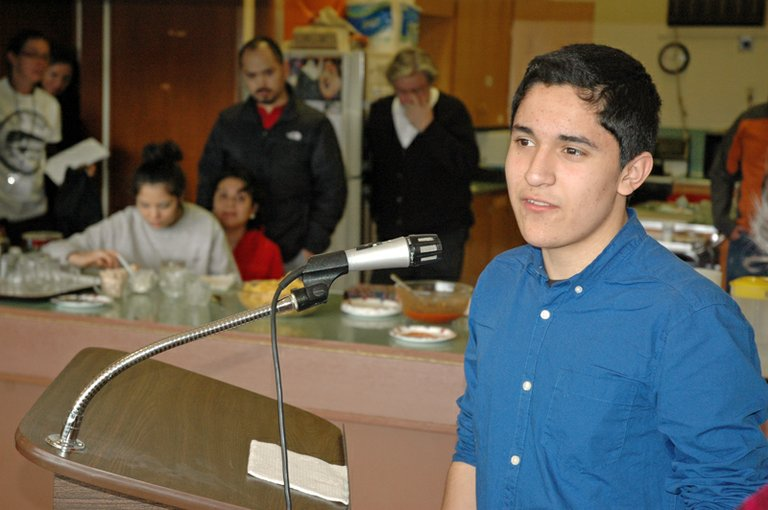 """it's A chance to give back to the community,"" Luis Ortega said of his goal of becoming a lawyer. Ortega, 16, an HRVHS sophomore, speaks on immigration reform Wednesday in the March For One tour visit to Hood River."