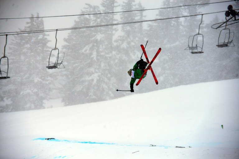 Hood River Valley High School skier  Sean Lund flies through the air the afternoon of March 6 at Mt. Hood Meadows in the slopestyle event of the 2013 Oregon Interscholastic Ski Racing Association's freestyle state championships.
