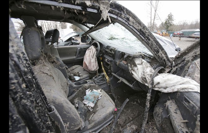 This March 11 photo in Southington, Ohio shows the interior of a vehicle where six people died in a crash early Sunday in Warren, Ohio. The crash is creating talking points for parents of teenagers.