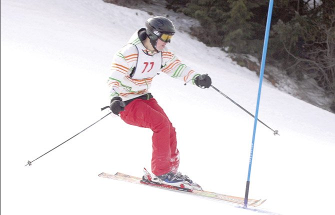 THE DALLES WAHTONKA senior skier Kale Underhill glides downhill in Mount Hood Ski League action on Mount Hood. Underhill and the rest of the Eagle Indians capped their 2012-2013 season with solid performances in OISRA state action. The boys finished the giant slalom portion on Thursday in 10th place.