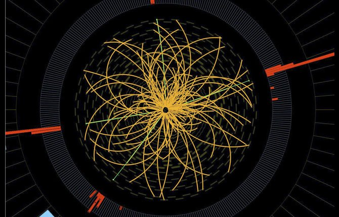 This 2011 image provided by CERN, shows a real CMS proton-proton collision in which four high energy electrons are observed in a 2011 event. The event shows characteristics expected from the decay of a Higgs boson.