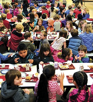 Well-managed rotation schedules mean May Street Elementary students are safe and supervised at the current enrollment levels. A group of students are seen here at lunch this week. Future projected enrollment increases will require big changes across the district.