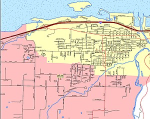 May Street-Westside attendance areas as they have been since 2006. The yellow area indicates May Street Elementary's area; the pink is Westside's. City and county planners expect future development to be mostly concentrated within the boundary for May Street, which is already operating over capacity. The most significant boundary change being suggested would put everything west of Rand Road into Westside Elementary's attendance area.