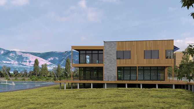 A rendering of the commercial building (center) and hotel (far right) project6 propsed for the Hood River waterfront by Naito Development.
