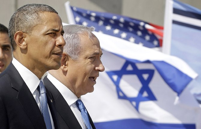 President Barack Obama and Israeli Prime Minister Benjamin Netanyahu tour the Iron Dome Battery defense system, at Ben Gurion International Airport in Tel Aviv, Israel, March 20,