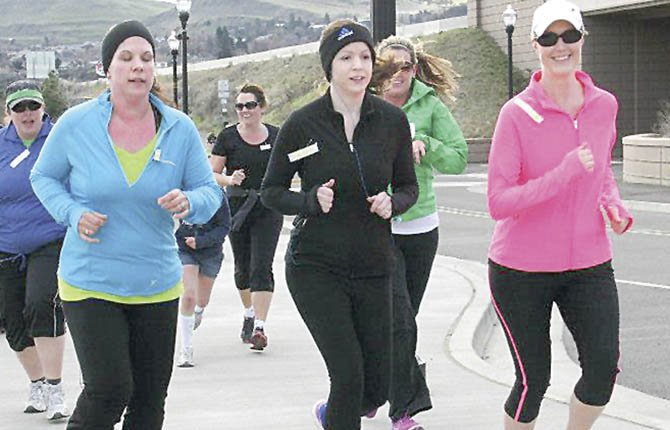 LOCAL HARRIERS hit the pavement at The Dalles Marina this past Saturday morning for the fifth annual St. Patrick's Day Trail Run/Walk. More than 170 participants were in action for bragging rights.