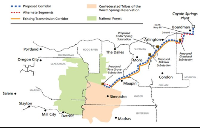 CASCADE CROSSING proposed power transmission line would stop 18 miles west of Maupin and link with existing transmission.