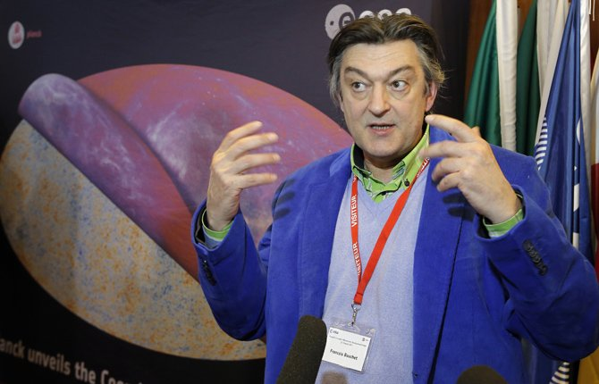 Francois Bouchet, a French astrophysicist speaks to the medias after the press conference at ESA headquarters, in Paris, March 21.