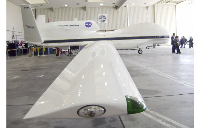 A NASA Global Hawk robotic jet sits in a hangar at Dryden Flight Research Center in Edwards Air Force Base, Calif. The Federal Aviation Administration is looking for six sites to test drones.
