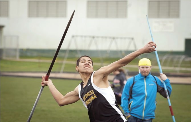 The Dalles Wahtonka's David Esquivias competes in the javelin during last Saturday's invitational track meet on Sid White Field in The Dalles. TDW recently competed in the Sherwood co-ed event on Wednesday.