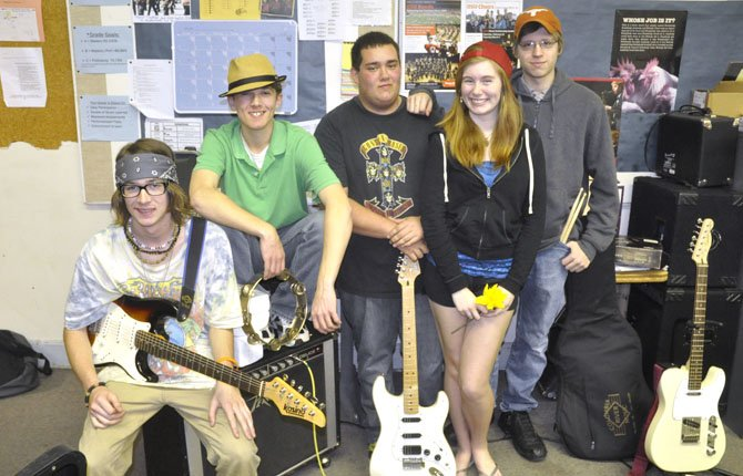 From left to right Justin Campbell (guitar and lead vocals), Josh Sexton (percussion), Jamison Dexter (guitar), Taylor-Anne Bartholomew (vocals) and Thomas Cowart (drums), along with bass player Andrew Grout (not pictured) form the band Stellar, which will play April 6 as part of a concert put on by the music history class at The Dalles Wahtonka High School. The concert will be in the high school auditorium at 7 p.m. and is free to the public.