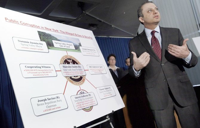 U.S. Attorney Preet Bharara uses a chart during a news conference, in New York, April 2, to explain that a New York state lawmaker was arrested Tuesday along with several other politicians, in an alleged plot to bribe his way into the race for mayor of New York City. Democratic state Sen.