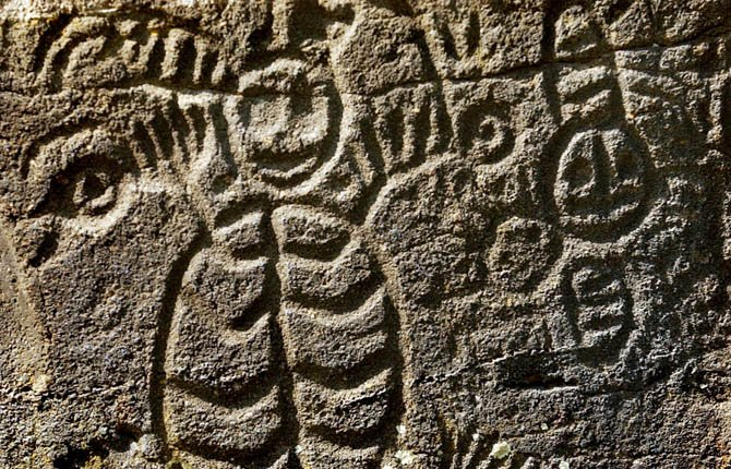 Details are shown on one of more than 40 boulders with Indian rock petroglyphs located at a public viewing area at Columbia Hills State Park in Washington.