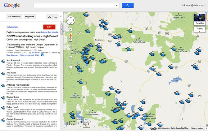 High Desert fishing map includes The Dalles, Hood River.