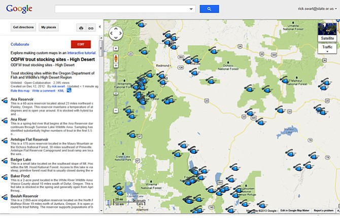 Odfw Completes Trout Fishing Map Project Now Includes Hood River