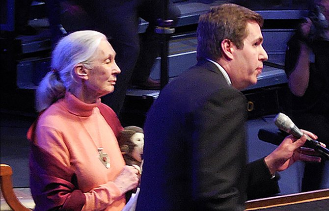Dr. Jane Goodall, left, stands at the podium with Dr. Thayne McCulloh, president of Gonzaga University in Pendleton, Wash., during her April 9 lecture.