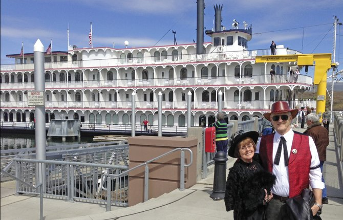 MARY AND DENNIS Davis were among the costumed greeters who welcomed passengers from the Queen of the West in its first stop in The Dalles of the tour season. The ship will be stopping in The Dalles through the spring and summer, including overnight stays every other Monday, starting this coming Monday, April 22. Wednesday daytime stays started with this one and will also continue every other week.