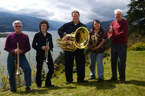 The Columbia Gorge Orchestra Association presents an afternoon of Chamber Music on Sunday, April 28, at 2 p.m. at the Hood River Middle School Auditorium. Pictured is the Gorge Brass Quintet, featuring Hugh Amick, Linda Orum, Jerry Keith, Carol Goter and Sam Grotte. The quintet is just one of the scheduled bands for the program.