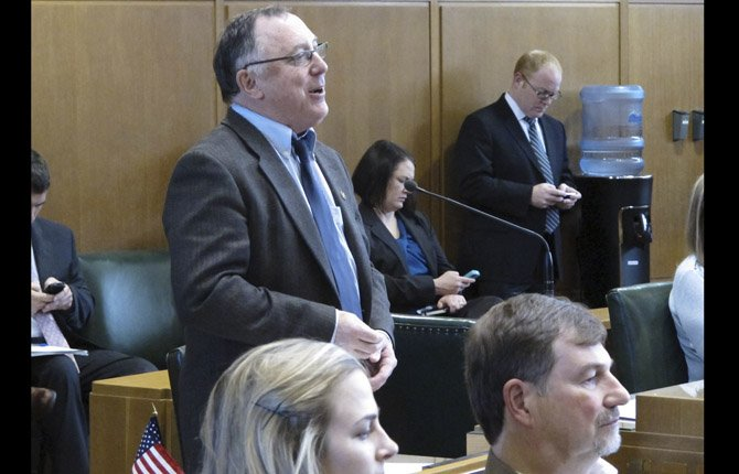 Rep. Peter Buckley, D-Ashland, speaks on the floor of the state House of Representatives in Salem, Ore., on Wednesday, April 24, 2013. The House voted on key pieces of the Democratic budget proposal.