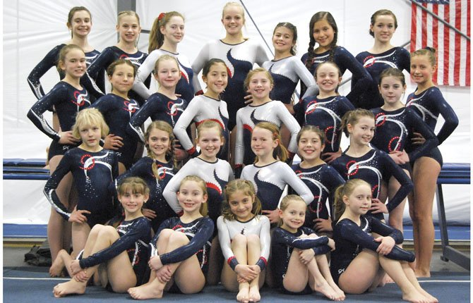 RIVERSIDE GYMNASTICS' members from Level 4, 5 and 6 representing The Dalles are together after twisting and twirling at the Last Chance Meet held on April 6-7 at Westside Academy in Tigard. Several of the participants put up solid perfromances, as they prepare for the state gymnastics event.