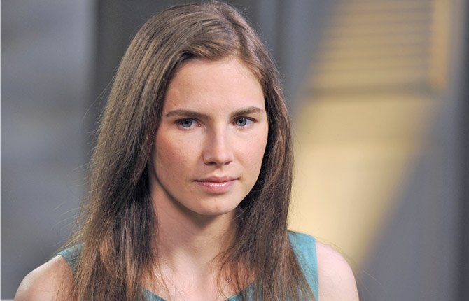 "Amanda Knox speaks during a taped interview with ABC News' Diane Sawyer in New York. In March, Italy's highest criminal court overturned Knox's acquittal in the 2007 murder of a British student and ordered a new trial. The interview aired April 30, coinciding with the release of her memoir, ""Waiting to Be Heard."""