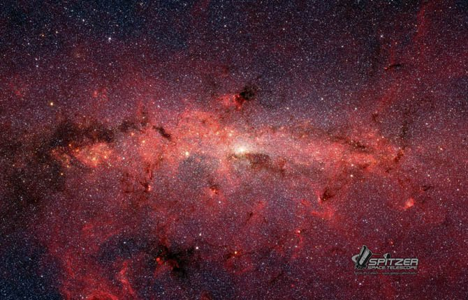 PEOPLE SHARE a common origin with the hundreds of thousands of stars shown here at the center of the Milky Way galaxy. The stars are made visible by infrared imagery from  NASA's Spitzer Space Telescope.