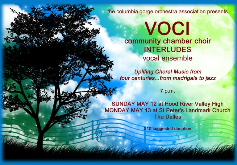 VOCI and Interludes at 7 p.m. tonight, HRVHS Bowe Theater and 7 p.m. tomorrow in The Dalles at St. Peter's Landmark Church. An earlier article listed the time incorrectly for today's concert.