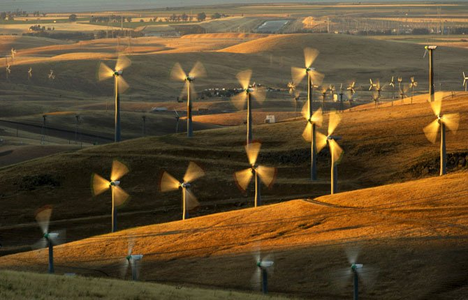 Wind turbines lining the Altamont Pass near Livermore, Calif., generate electricity on May 12.