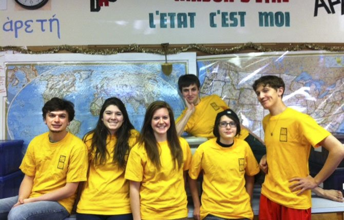 World Quest participants (left to right) George Zenker, Madi Rotter, Dylan Schechtal, Cal Eddy, Emily Morin and Josh Sexton competed in February.