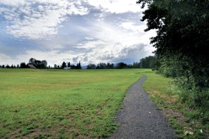 Indian creek trail now stretches from Barrett Park on the west side of town to the east side of downtown Hood River. Pictured above is the newest section of the trail running along the north side of the park property at the corner of Barrett and Alameda roads.