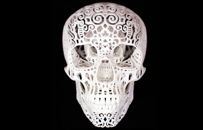 Chicago artist Joshua Harker, 43, shows 3D printer his design creation, Crania Anatomica Filigre.
