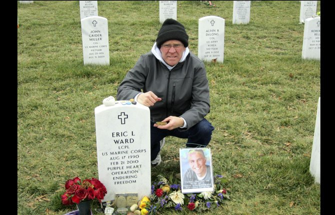 WASCO COUNTY Chief Deputy Lane Magill braved cold and blustery weather in March to take gravestone rubbings for USMC Lcpl. Eric Ward and 15 other warriors at Arlington National Cemetery in Virginia. Magill, a strong supporter of veterans, will speak about that experience and the lessons he learned at Monday's Memorial Day ceremonies in The Dalles.