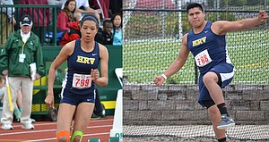 state champions Jestena Mattson and Sebastian Barajas are seen in action at the 2013 5A OSAA meet in Eugene. Mattson, a sophomore, won the 200-meter dash and Barajas, a freshman, won the discus.