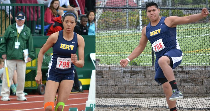 state champions Jestena Mattsonand Sebastian Barajas are seen in action at the 2013 5A OSAA meet in Eugene. Mattson, a sophomore, won the 200-meter dash and Barajas, a freshman, won the discus.