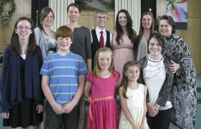 Students from the Lutz Music Studio held their spring recital Sunday, May 19, at the First Christian Church. Back row, from left: Kaylie Clear, Annessa Clear, Jordan Palmer, Aubrey Hansen, Eden Bova, Shawn Lutz; front: Rebekah Wild, Samuel Clear, Riley Parker, Lilly Adams, and Desirae Stewart.