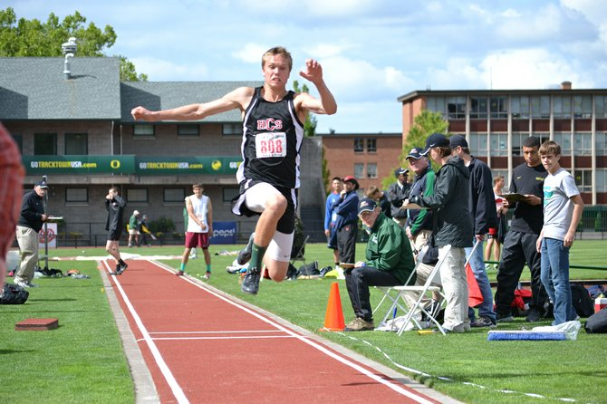 Mason Bloomster leaps through the air last week in Eugene at the 1A OSAA state meet. The sophomore placed fifth in the event.