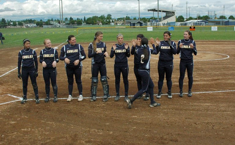 HRV softball players during introductions before their state quarterfinal game against West Albany in the 2013 state playoffs.