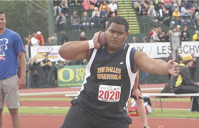 TDW'S Lio Tunai gets his form down for a shotput toss at Hayward Field in Eugene. The two-time district champion wound up in second place with a throw of 50-feet-11.25 inches.