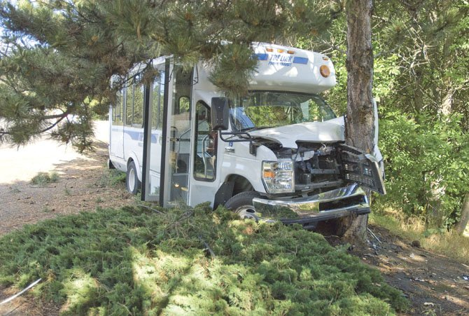 A LINK bus crashed into a tree on Chenowith Road in front of Foley Lakes Thursday morning, May 30. The driver appeared unhurt, but medics transported at least one patient.