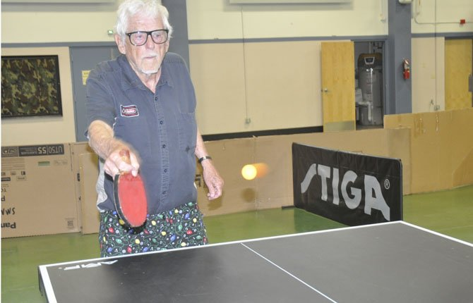 BEN BAIRD, 85, of Stevenson is the top ranked and oldest player of the Columbia Gorge Table Tennis Club, which has members of all ages. Baird has mastered a backspin that makes it difficult for his opponents to track the movement of a return ball.