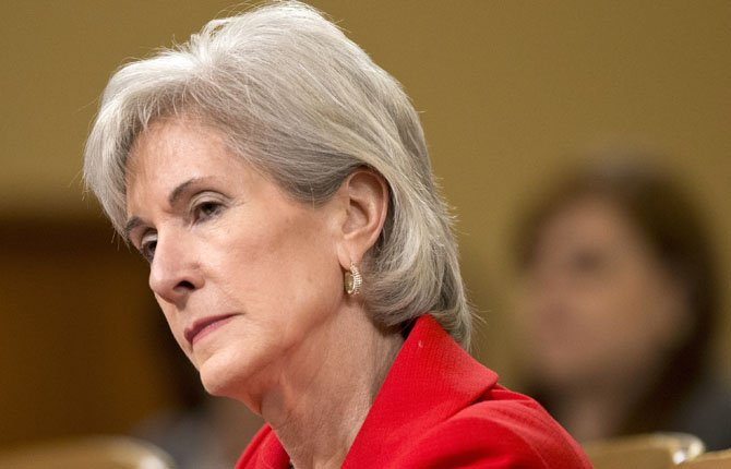 Health and Human Services Secretary Kathleen Sebelius testifies on Capitol Hill in Washington, before the House Ways and Means Committee on April 12. Some of President Barack Obama's political appointees, including Sebelius, are using secret government email accounts they say are necessary to prevent their inboxes from being overwhelmed with unwanted messages.
