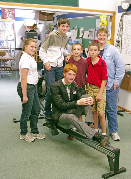 Darlene House, Michael Lantz, Alex Wood, Jesse Williams, teacher Lisa Albrecht and Luke McLean (front row, seated) were some of the top rowers during the school year for Covenant Christian Acadmey. The private school used daily fitness activities to keep kids healthy.