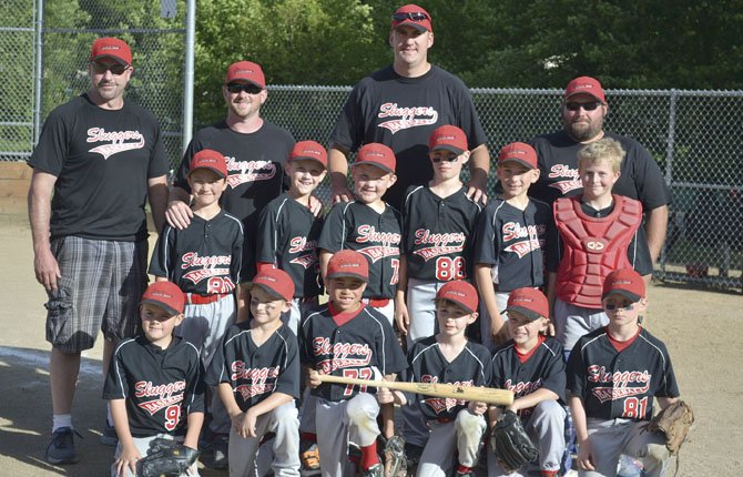 MEMBERS of the 10U Sluggers Junior Baseball Organization team (Bottom row, pictured from left to right), Quincy Townsend, Conner Cummings, Styles DeLeon, Conner Blair, Dylan Waddington, and Gabe Petroff.  In the Middle Row are (left to right), Shannon Pando, Wyatt Townsend, Peyton Beeks, Austin Agidius, Taylor Beeks, and Keegan Locy.  Back row left to right- Coach Steve Agidius, Coach Allen Beeks, Coach Bob Townsend, and Coach Nick DeLeon. In Aloha this past weekend, the Sluggers went 3-1 to score third place.
