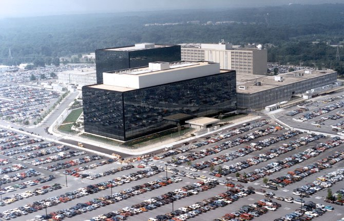 "This undated U.S. government photo shows an aerial view of the National Security Agency (NSA) in Fort Meade, Md. The Obama administration on Thursday defended the National Security Agency's need to collect telephone records of U.S. citizens, calling such information ""a critical tool in protecting the nation from terrorist threats."""