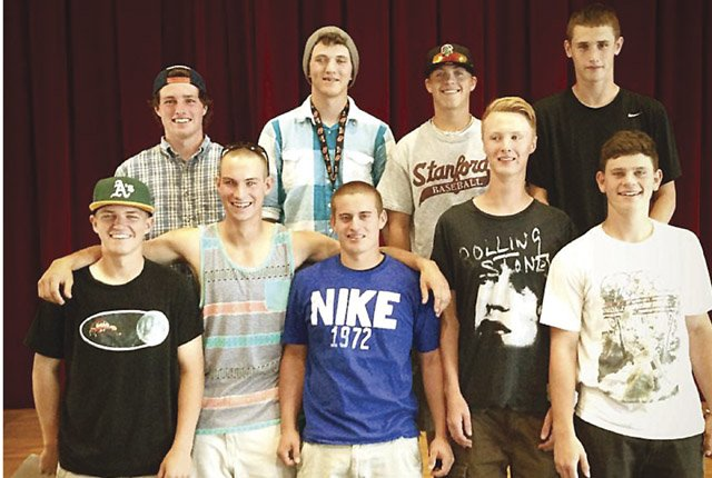 THE DALLES WAHTONKA baseball players (pictured from left to right in front row), Steven Bartells, Connor Mathisen, Nolan McCall, Clayton Ringer and Clay Copper are joined by teammates (in back row, left to right), Kaci Kiser, Dakota Walker, Justin Sugg and Austin Wilson at a recent event in The Dalles. Bartells, Mathisen, Kiser and McCall were named to the 5A all-state squad. Mathisen and Walker were invited to participate in the Reser's Oregon All-Star State-Metro Series for a two-day baseball exhibition between the best 6A and 5A baseball players across the state for play on June 15 and 16 at Goss Stadium in Corvallis.