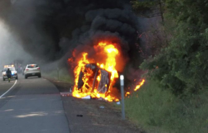 KETSY ROEDER of Kennewick, Wash., was saved by a Good Samaritan after her overturned vehicle caught fire near Cascade Locks June 10.
