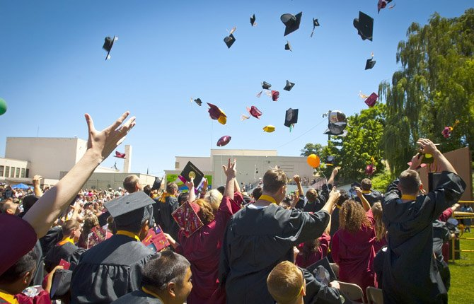THE DALLES Wahtonka High School graduates end their childhood with the tradition of tossing caps following Saturday's commencement ceremony that was held outdoors on the campus.